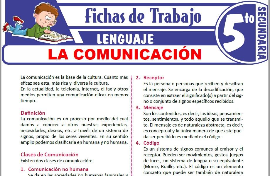 Modelos de la Ficha de Elementos y tipos de comunicación para Quinto de Secundaria
