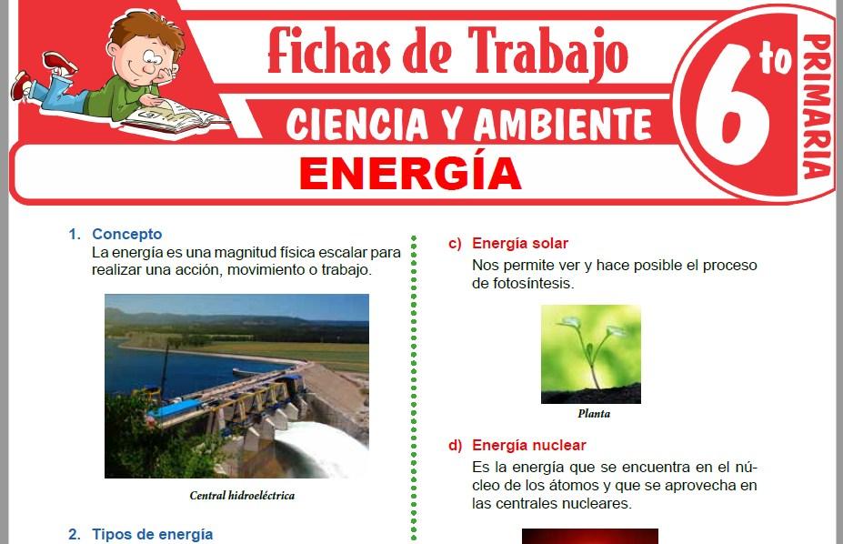 Modelos de la Ficha de Energía para Sexto de Primaria