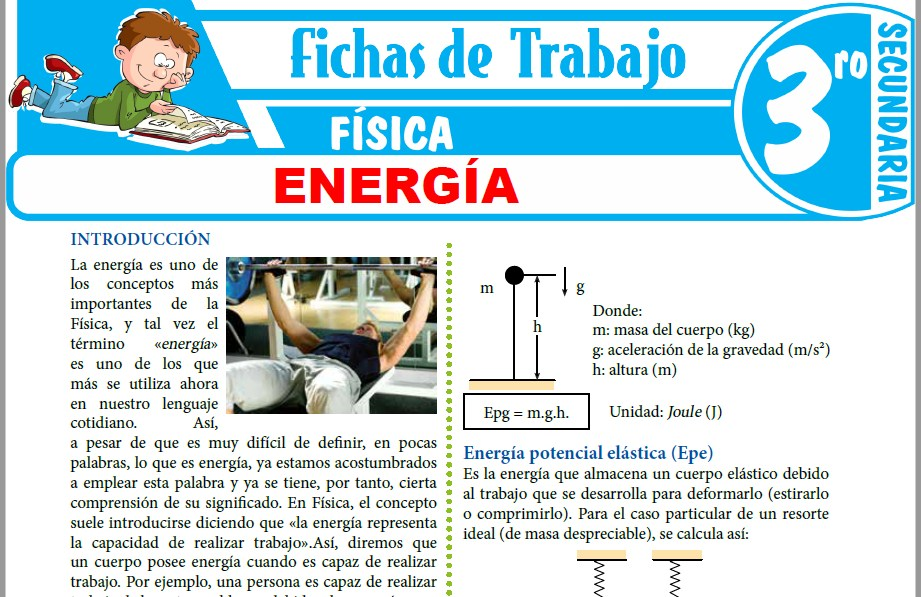 Modelos de la Ficha de Energía para Tercero de Secundaria
