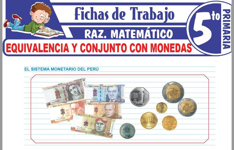 Modelos de la Ficha de Equivalencia y conjunto con monedas para Quinto de Primaria