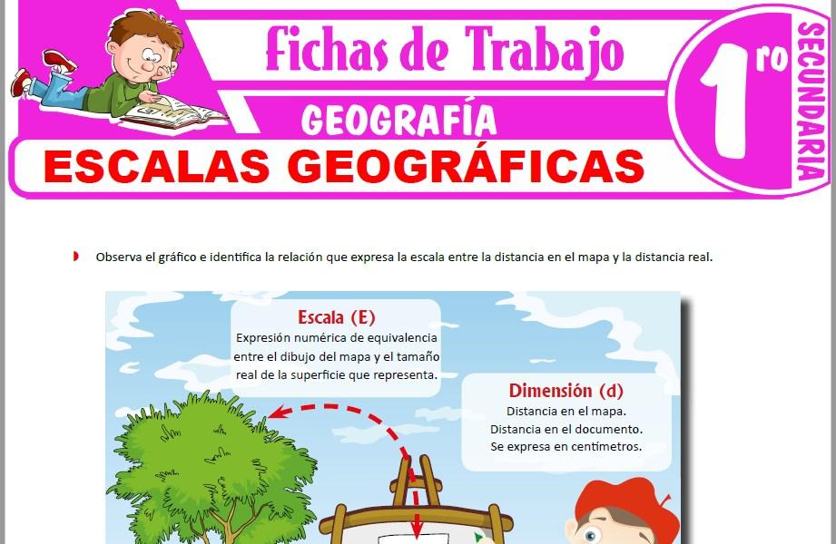 Modelos de la Ficha de Escalas geográficas para Primero de Secundaria