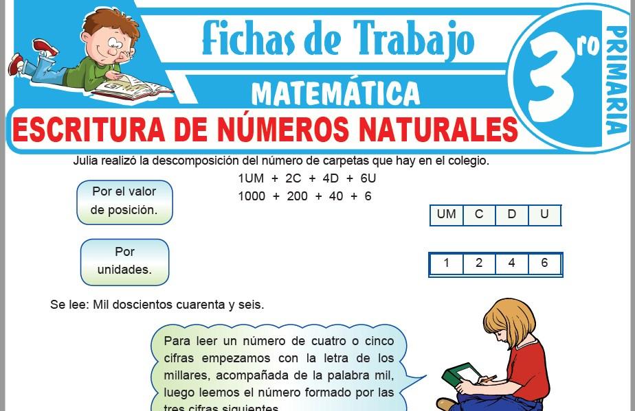 Modelos de la Ficha de Escritura de números naturales para Tercero de Primaria