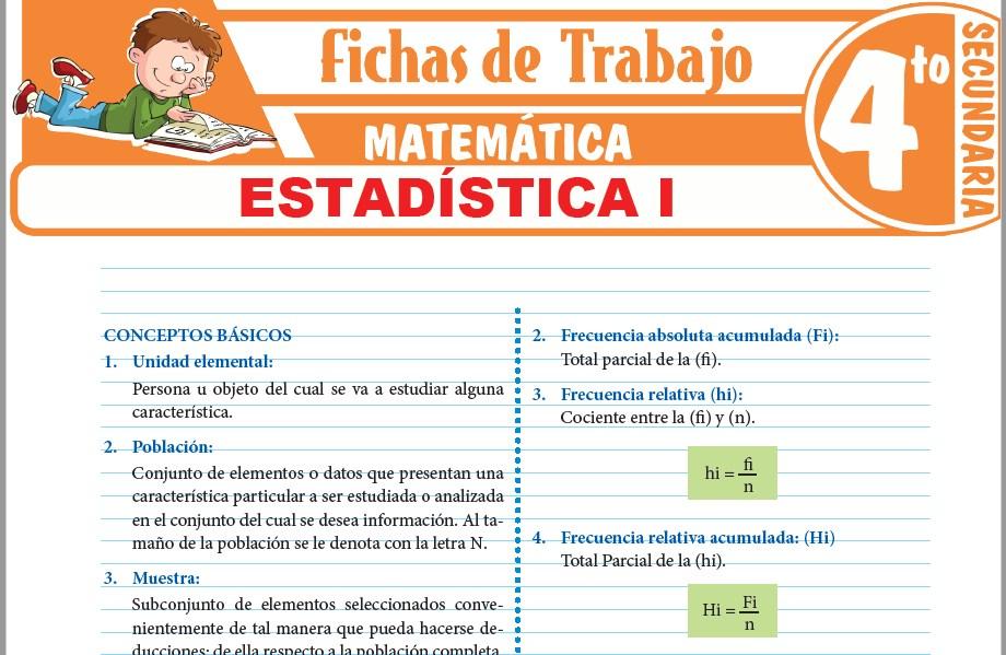 Modelos de la Ficha de Estadística I para Cuarto de Secundaria