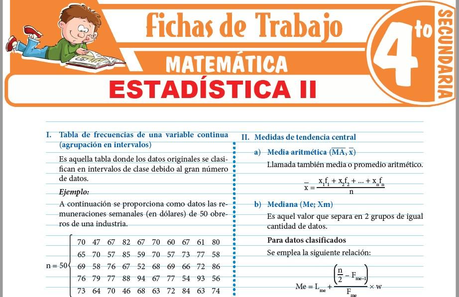Modelos de la Ficha de Estadística II para Cuarto de Secundaria