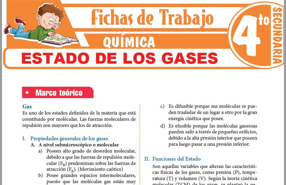 Modelos de la Ficha de Estado de los gases para Cuarto de Secundaria