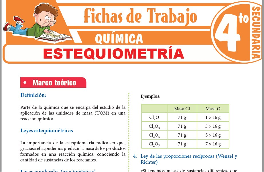 Modelos de la Ficha de Estequiometría para Cuarto de Secundaria