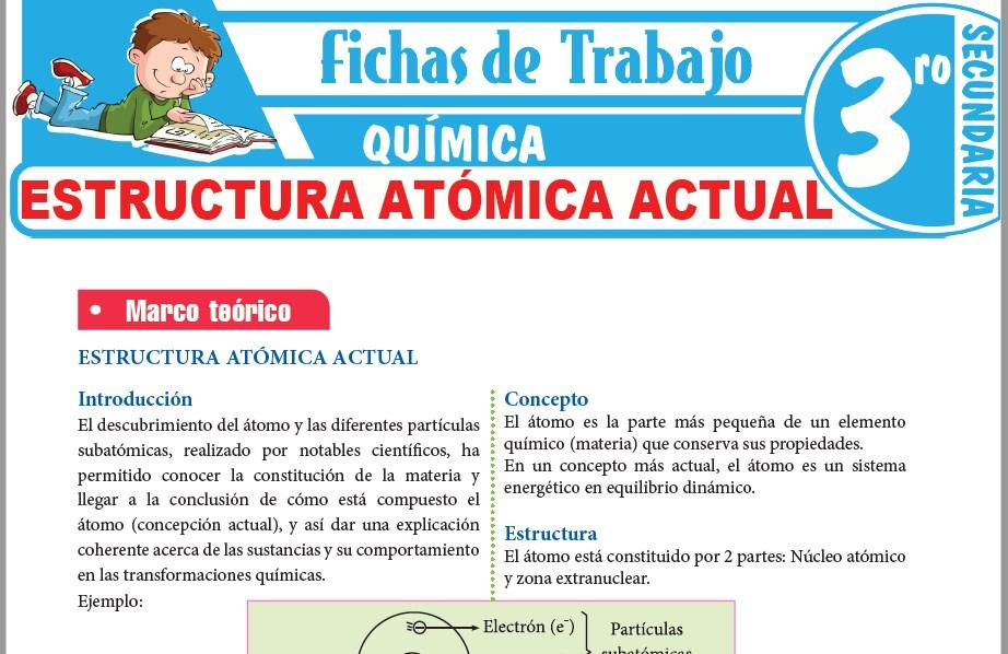 Modelos de la Ficha de Estructura atómica actual para Tercero de Secundaria