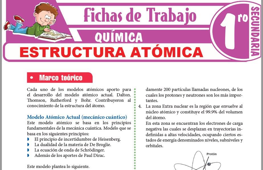 Modelos de la Ficha de Estructura atómica para Primero de Secundaria