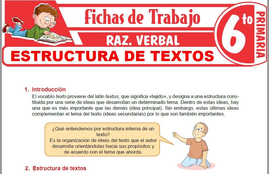 Modelos de la Ficha de Estructura de textos para Sexto de Primaria