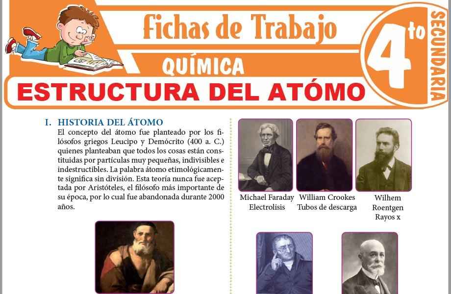 Modelos de la Ficha de Estructura del atómo para Cuarto de Secundaria