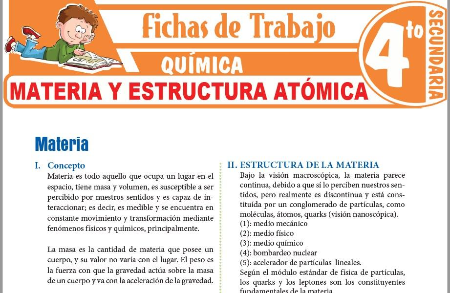 Modelos de la Ficha de Estructura y clasificación de la materia para Cuarto de Secundaria