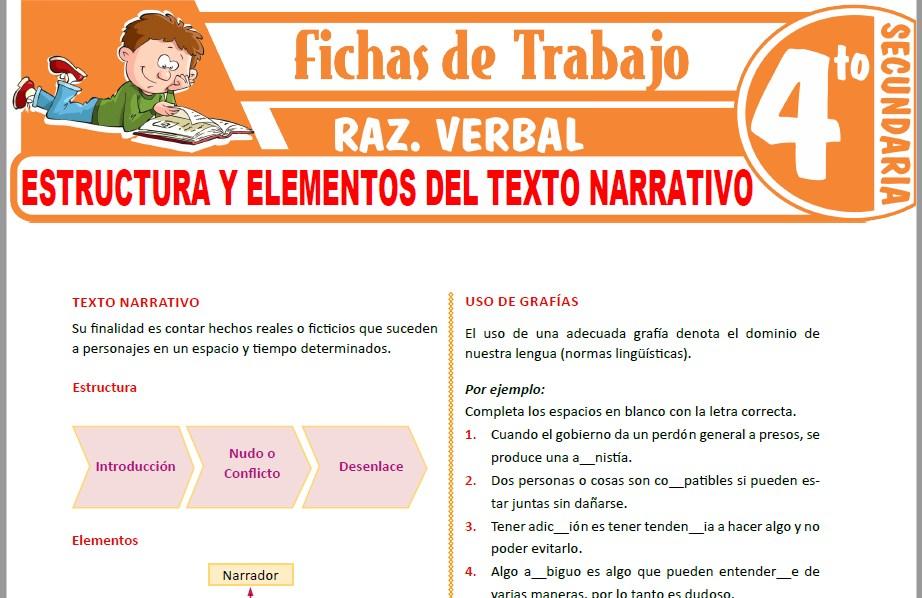 Modelos de la Ficha de Estructura y elementos del texto narrativo para Cuarto de Secundaria