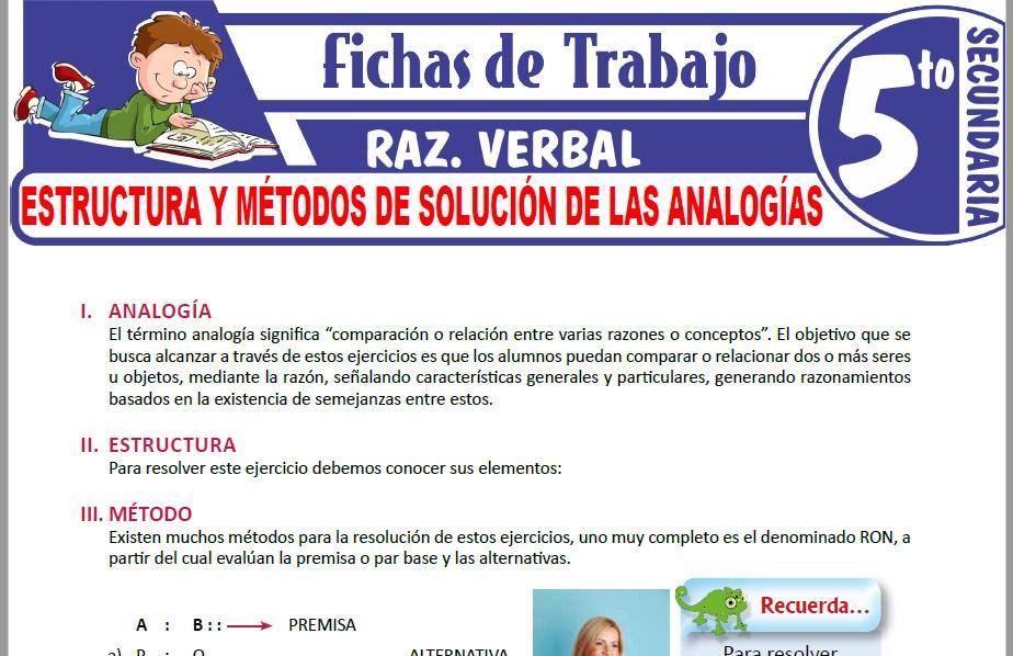 Modelos de la Ficha de Estructura y métodos de solución de las analogías para Quinto de Secundaria