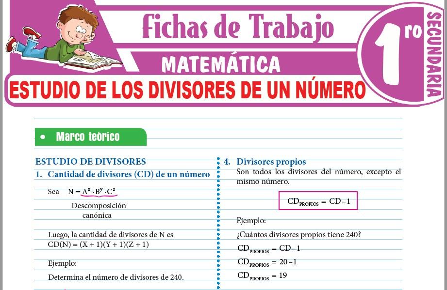 Modelos de la Ficha de Estudio de los divisores de un número para Primero de Secundaria