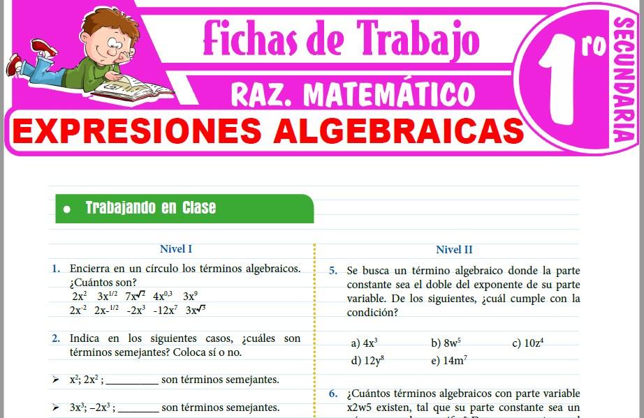 Modelos de la Ficha de Expresiones algebraicas para Primero de Secundaria