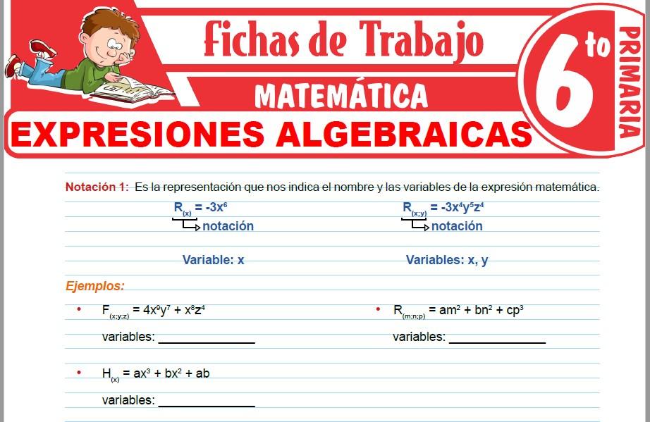 Modelos de la Ficha de Expresiones algebraicas para Sexto de Primaria