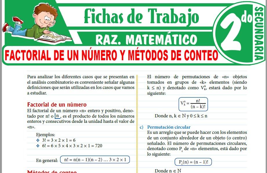 Modelos de la Ficha de Factorial de un número y métodos de conteo para Segundo de Secundaria