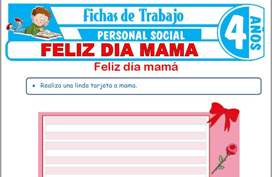Modelos de la Ficha de Feliz día mamá para Niños de Cuatro Años