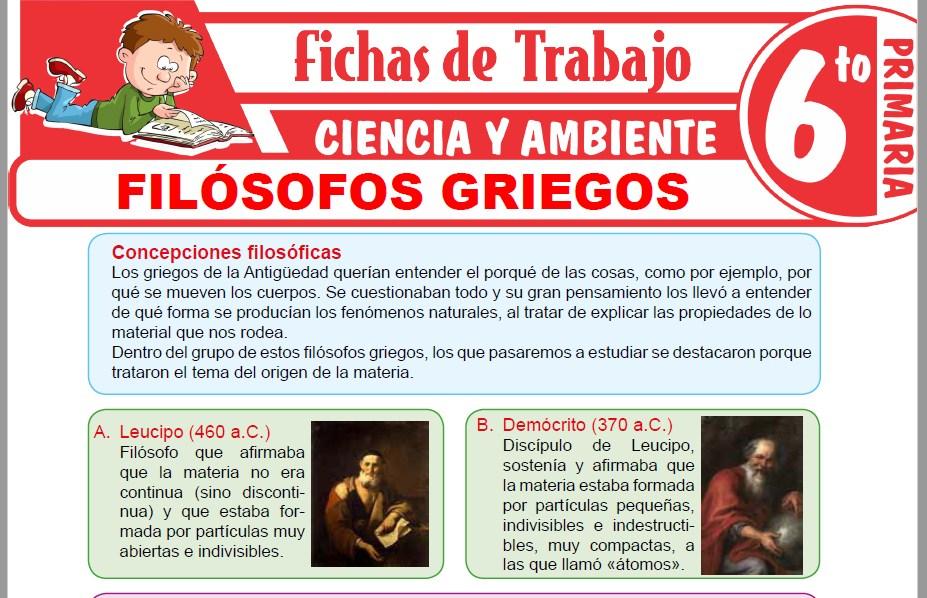 Modelos de la Ficha de Filósofos Griegos para Sexto de Primaria
