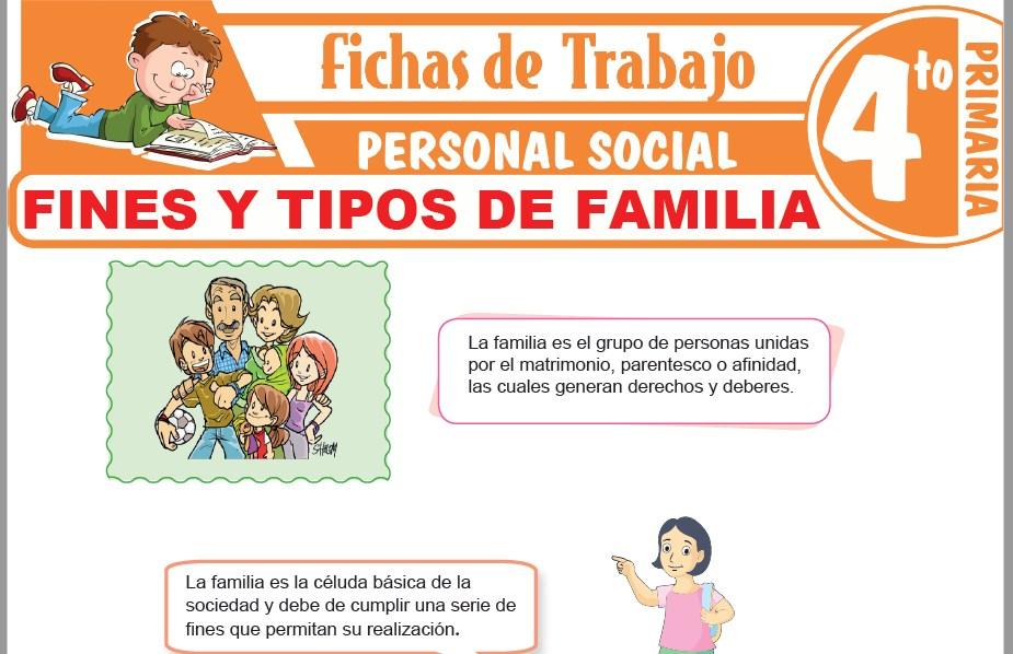 Modelos de la Ficha de Fines y tipos de familia para Cuarto de Primaria