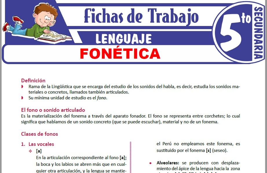 Modelos de la Ficha de Fonética para Quinto de Secundaria