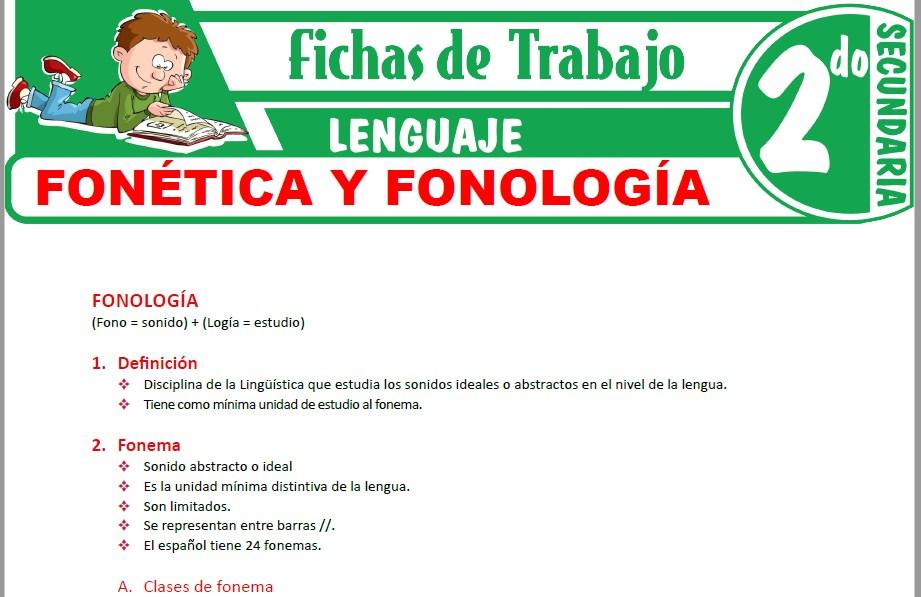 Modelos de la Ficha de Fonética y Fonología para Segundo de Secundaria