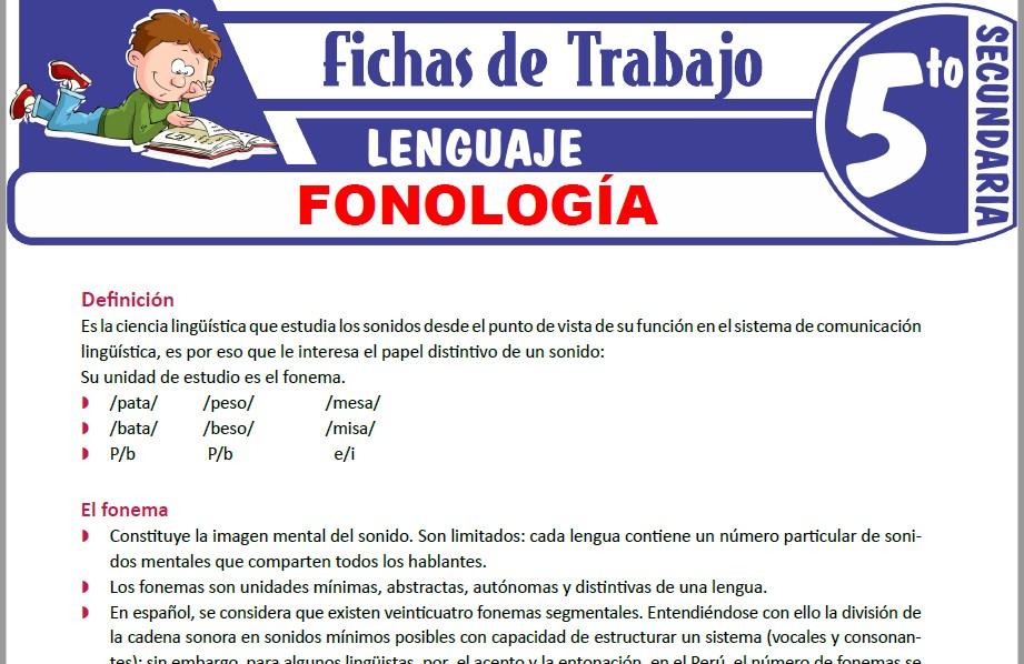 Modelos de la Ficha de Fonología para Quinto de Secundaria