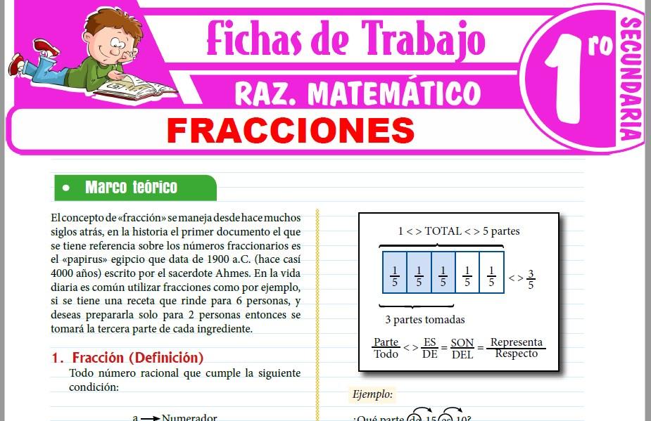 Modelos de la Ficha de Fracciones para Primero de Secundaria