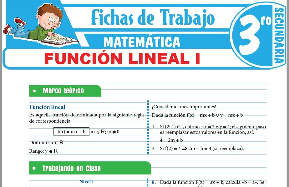 Modelos de la Ficha de Función lineal I para Tercero de Secundaria