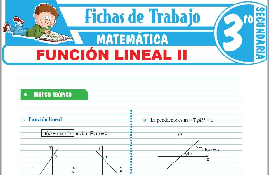 Modelos de la Ficha de Función lineal II para Tercero de Secundaria
