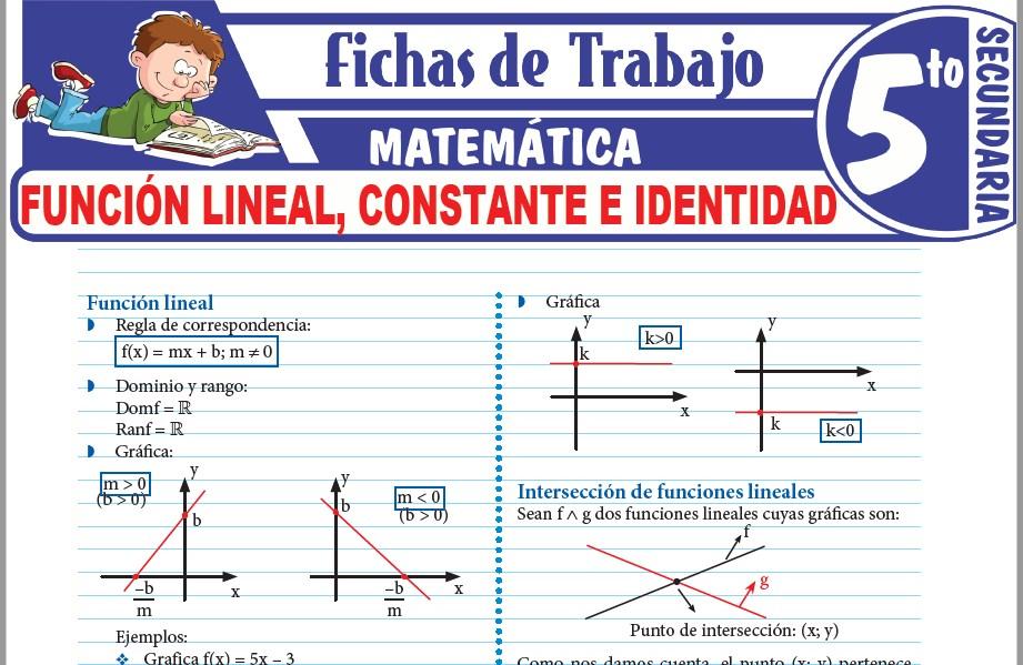 Modelos de la Ficha de Función lineal, constante e identidad para Quinto de Secundaria