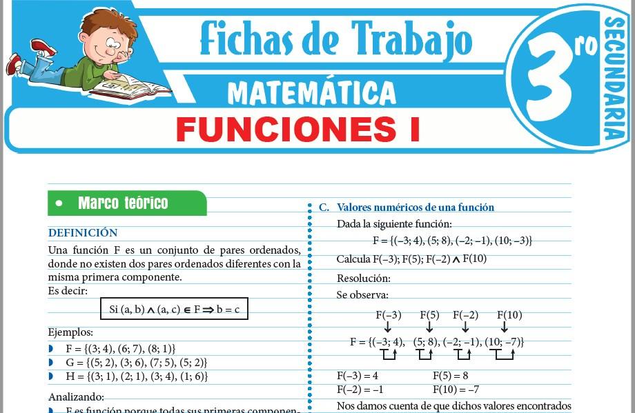 Modelos de la Ficha de Funciones I para Tercero de Secundaria