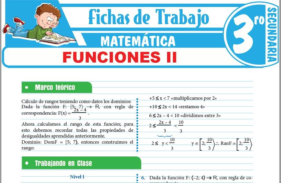 Modelos de la Ficha de Funciones II para Tercero de Secundaria