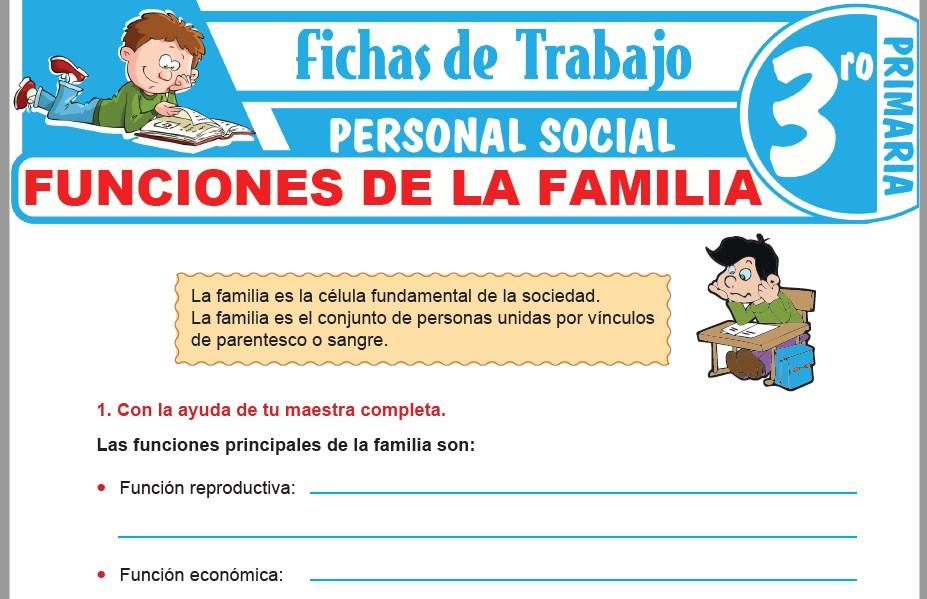 Modelos de la Ficha de Funciones de la familia para Tercero de Primaria