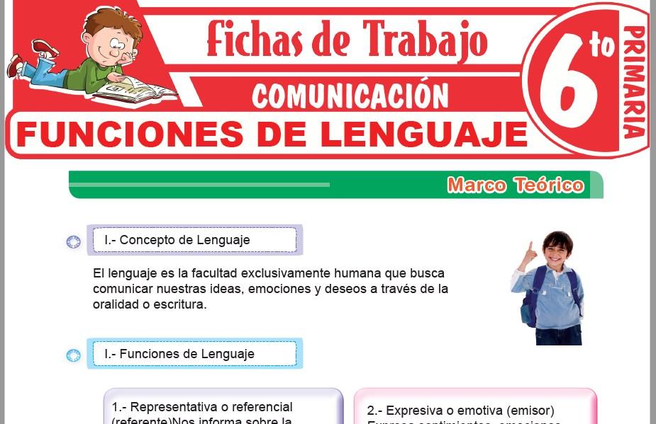 Modelos de la Ficha de Funciones de lenguaje para Sexto de Primaria