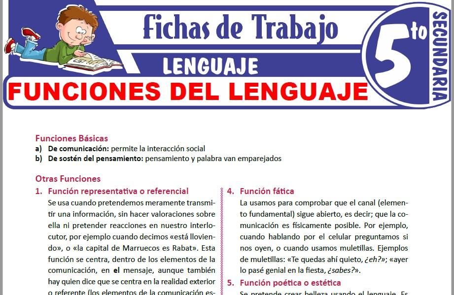 Modelos de la Ficha de Funciones del lenguaje para Quinto de Secundaria