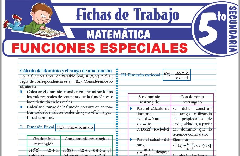 Modelos de la Ficha de Funciones especiales para Quinto de Secundaria