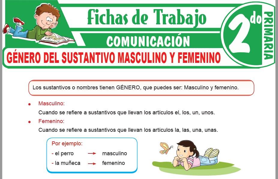 Modelos de la Ficha de Género del sustantivo masculino y femenino para Segundo de Primaria