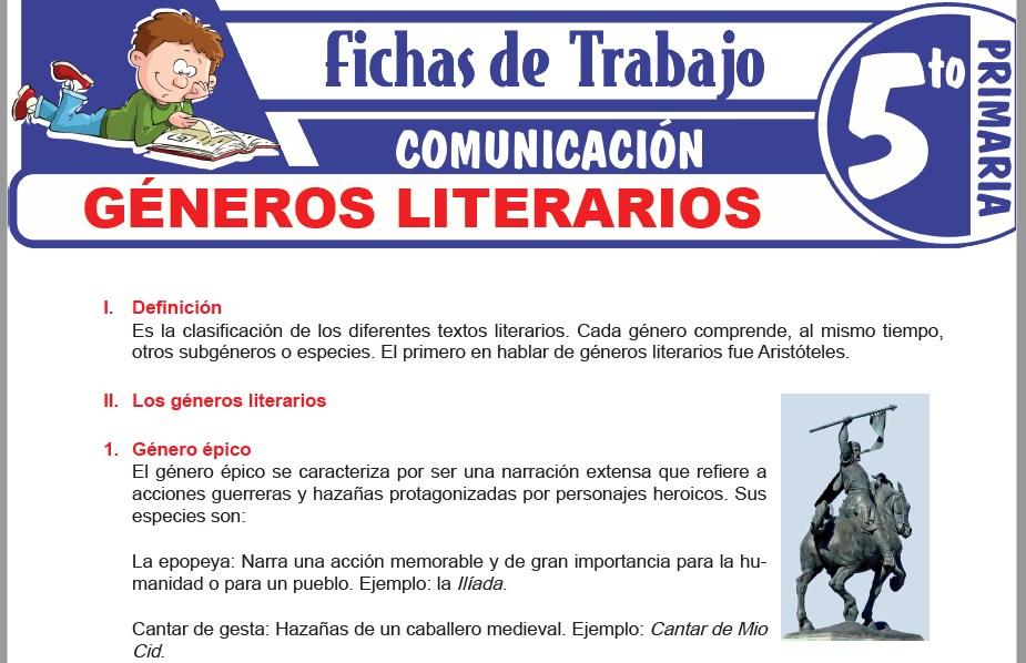 Modelos de la Ficha de Géneros literarios para Quinto de Primaria