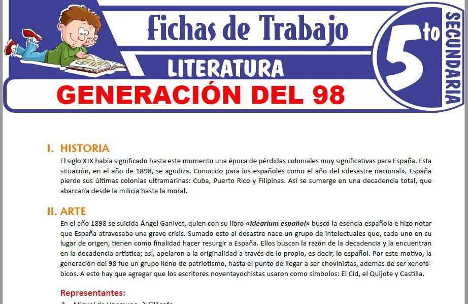 Modelos de la Ficha de Generación del 98 para Quinto de Secundaria