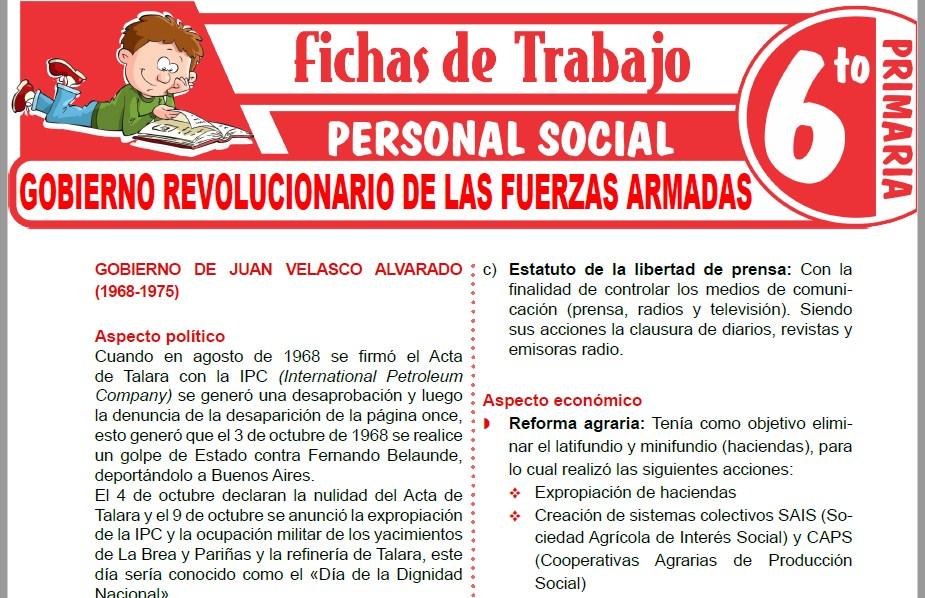 Modelos de la Ficha de Gobierno revolucionario de las fuerzas armadas para Sexto de Primaria