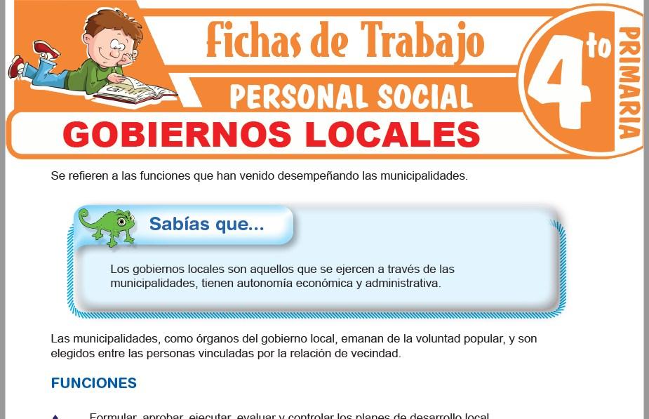 Modelos de la Ficha de Gobiernos locales para Cuarto de Primaria