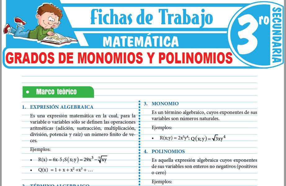 Modelos de la Ficha de Grados de monomios y polinomios para Tercero de Secundaria