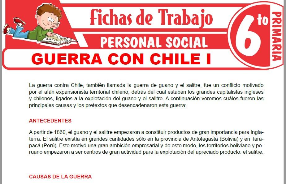 Modelos de la Ficha de Guerra con Chile I para Sexto de Primaria