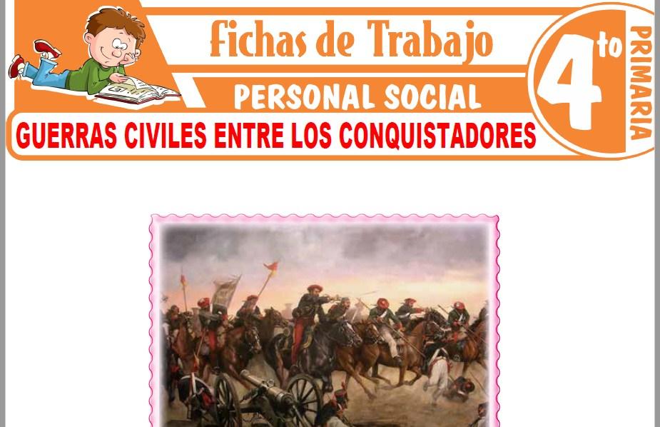 Modelos de la Ficha de Guerras civiles entre los conquistadores para Cuarto de Primaria