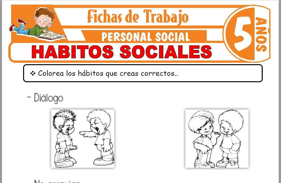 Modelos de la Ficha de Hábitos sociales para Niños de Cinco Años