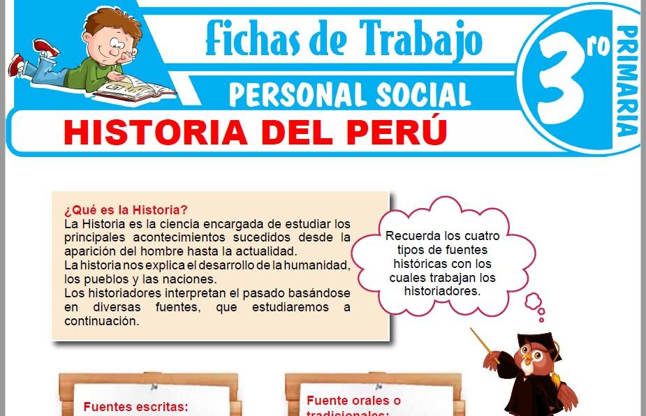 Modelos de la Ficha de Historia del Perú para Tercero de Primaria