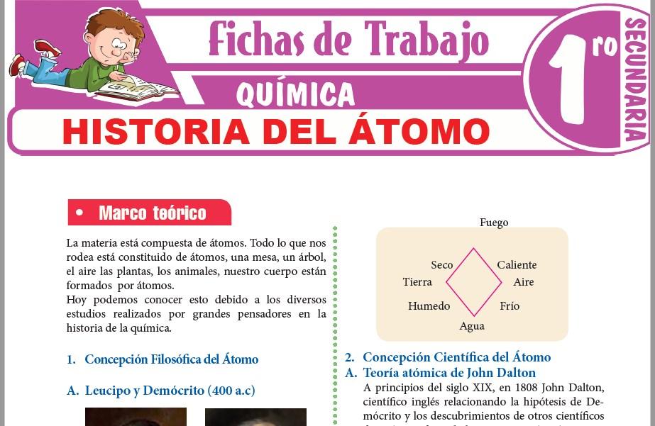 Modelos de la Ficha de Historia del átomo para Primero de Secundaria