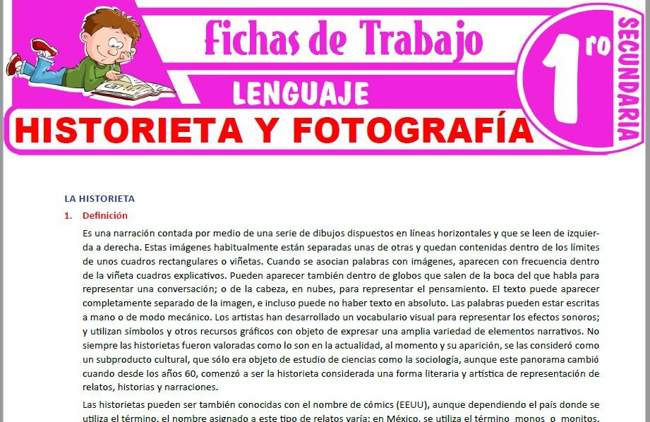 Modelos de la Ficha de Historieta y fotografía para Primero de Secundaria