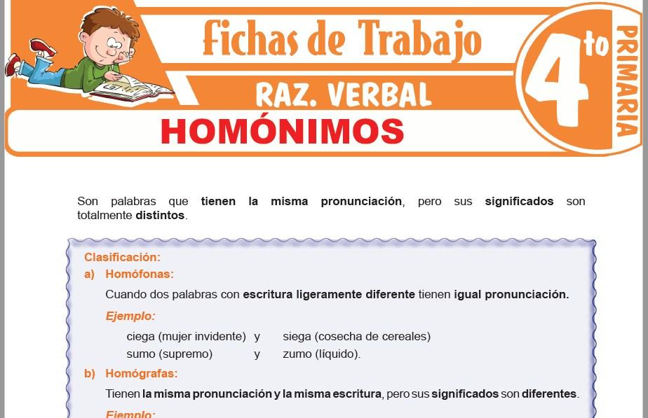 Modelos de la Ficha de Homónimos para Cuarto de Primaria